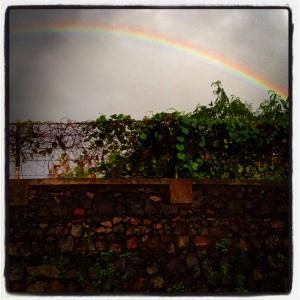 Rainbow shot from a rickshaw.